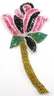 "Flower with Fuchsia Black Green Gold Sequins and Beads 6"" x 3.5"""