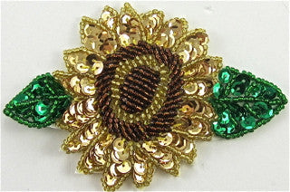 "Flower with Gold Bronze Green Sequins and Beads 4"" x 3"""