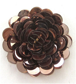Flower with High Rise Round Bronze Sequins 2""