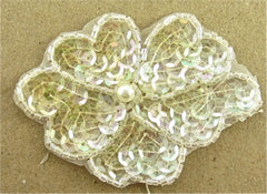 "Flower with Iridescent Sequins and Beads 2.5"" x 3.5"""