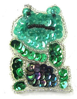 "Frog  with Green Sequins and Beads 2"" X 1.5"""