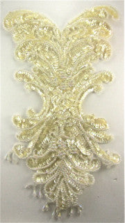 "Designer Motif Full body Applique with Iridescent Yellowish Sequins and Beads 17"" x 10.5"""