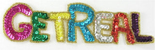 "GET REAL MultiColored Sequins Gold Beads 2"" x 7"""