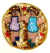 Load image into Gallery viewer, Zodiac Symbol Gemini the Twins, Sequin Beaded  3.5""