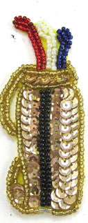 "Golf Club Gold Black Red white Blue Sequins/Beads 3.25"" x 1.5"""