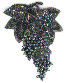 "Leaf with Grapes on vine Moonlite Sequins and Beads 7.5"" x 5"""