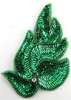 "Green Leaf Single with Rhinestone 6"" x 4"""