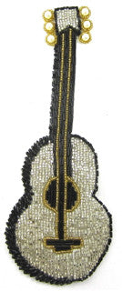 "Guitar with Silver Gold and Black Beads 6"" x 2"""