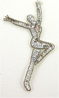 "Gymnast Dance Female Silver Sequins and Beads 5.5"" x 3"""