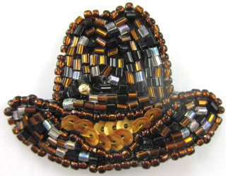 "Hat Stetson Small with Bronze Assorted Beads 1.5"" x 2"""