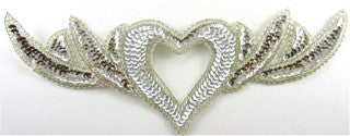 "Heart Neck Piece with Silver Sequins and Beads and Heart 4.5"" x 12"""