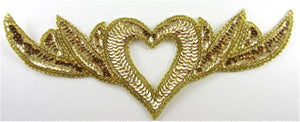 "Heart Neck Piece with Gold Sequins and Beads 12"" x 4.5"""
