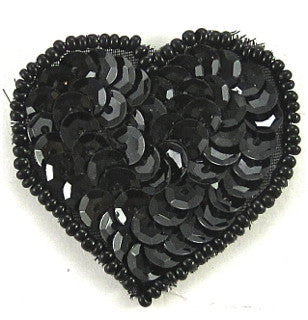 "Heart with Black Sequins and Beads 1.5"" x 1.5"""