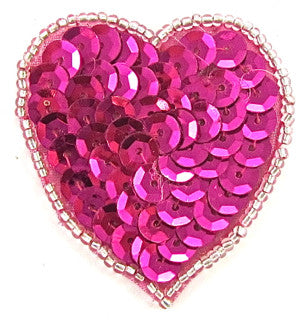 Heart with Fuchsia Sequins and Silver Beads 1.75""