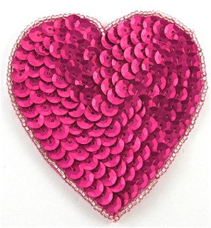 "Heart with Fuchsia Sequins and Beads, 3"" x 3"""