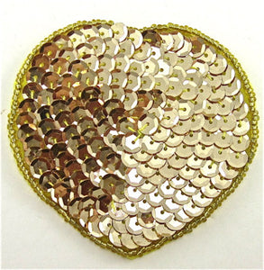 "Heart with Gold Sequins and Beads 3"" x 3"""