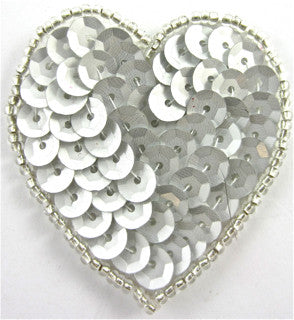Heart with Grey Sequins and Beads 2""