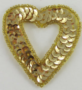 Heart with Hole Gold Sequins and Beads 2""