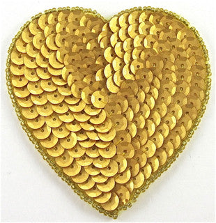 Heart with Flat Gold Sequin and Beads, 4""