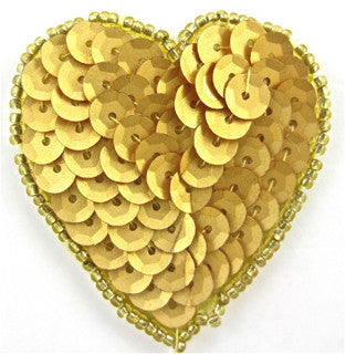 "Heart with Metallic Gold Sequin and Beads 1.75"" x 1.5"""