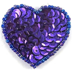 Heart Purple Sequins and Beads  in 3 Variants