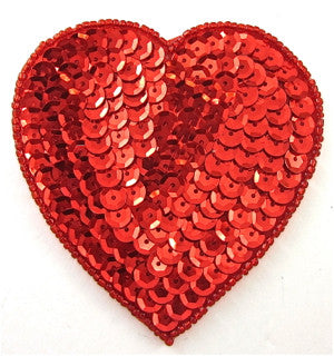 Heart with Red Sequins and beads  3""