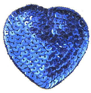 "Heart Royal Blue Sequins and Beads 3"" x 3"""