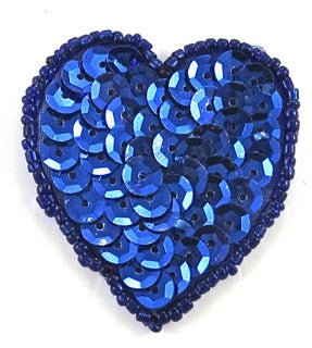 "Heart Royal Blue Sequins and Beads  in 2 Size Variants 1.75"" or 2.0"""