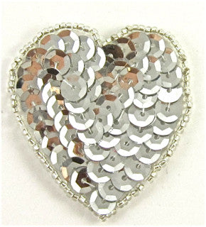 Heart with Silver Sequins and Beads 2""