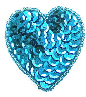 Heart with Turquoise Beads and Sequins 2""