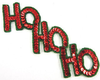 "Ho Ho Ho Xmas Word With Red and Green Sequins and Beads 3"" x 7"""
