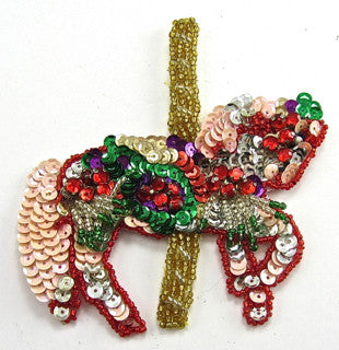 "Horse Carousel with MultiColored Sequins and Beads 4"" x 4"""