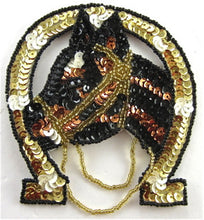 "Load image into Gallery viewer, Horseshoe and Horse Gold Bronze and Black Sequins and Beads 4""x 4"""