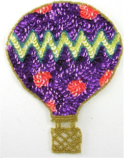 Hot Air Balloon with Purple Yellow Orange Sequins 5.5