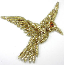 "Load image into Gallery viewer, Hummingbird with Gold Sequins and Beads 3"" x 3.5"""