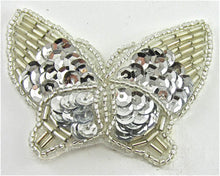 "Load image into Gallery viewer, Butterfly with Silver Sequins and Beads 2.5"" x 2"""