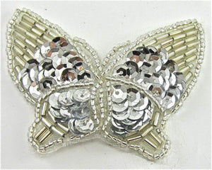 "Butterfly with Silver Sequins and Beads 2.5"" x 2"""