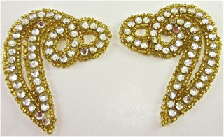 "Designer Pair Twist with Gold Beads and Rhinestones 3"" x 2.5"""