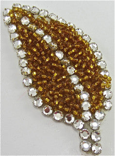 "Leaf with Dark Gold Beads and 15 High Quality Rhinestones  3"" x 1.5"""
