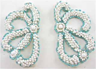 "Motif Pair with White and Turquoise Beads  3"" x 2"""