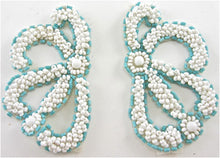 "Load image into Gallery viewer, Designer Motif Pair with White and Turquoise Beads  3"" x 2"""