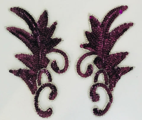 "Leaf Pair with Wine Colored Sequins and Beads  Two Sizes 7"" x 4"""