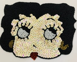 "Betty Boop All Black Beaded Hair Beige Sequins looking up 4.5"" x6"""