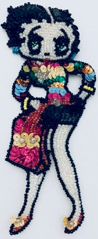"Betty Boop with fuchsia handbag Multi-colored shirt with sequins and beads 6.5"" x 2.5"""