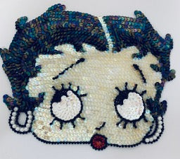 "Betty Boop Looking up with Beaded earrings and red lips   7"" x 8.5"""
