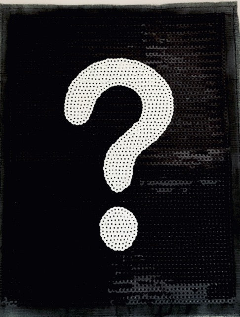 "Exclamation Point Black and White Flat Sequins 11"" x 8.5"""