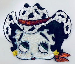 "Betty Boop with Country Western Hat and Red Scarf 7.5"" x 9"""