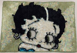 "Rare Betty Boop Sequin Applique with black lime green and beaded eyes. 6.5"" x 9.25"