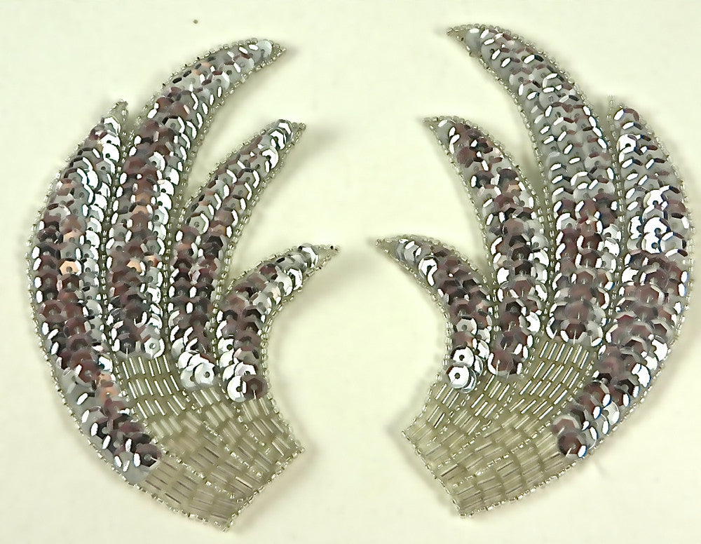 "Designer Motif Wing Pair with Silver Sequins and Beads   6"" x4"""