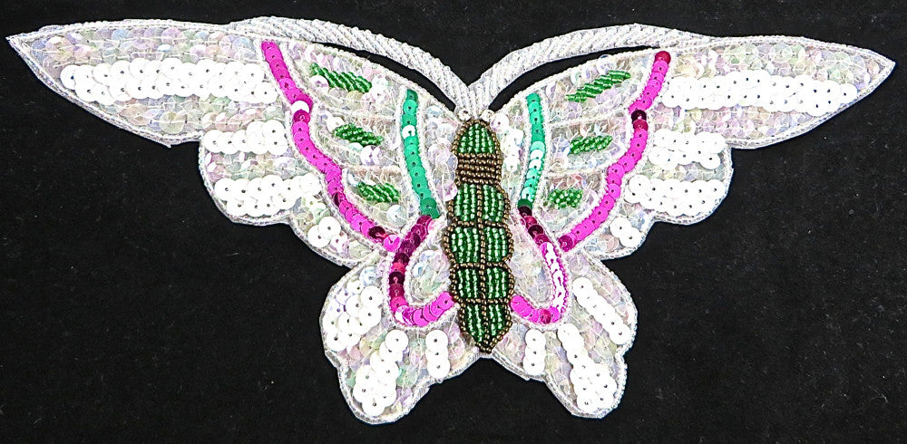 "Butterfly White with Green and Fuschia 10.75"" x 5"""